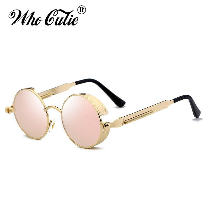 WHO CUTIE 2018 Round Shades Gothic Steampunk Sunglasses Men Women Brand Designer Rose Gold Pink Mirror Punk Male Sun Glasses 418 2