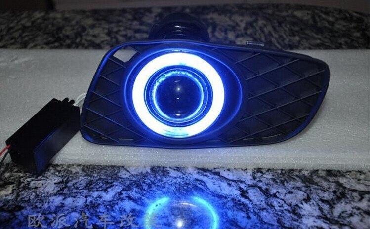 eOsuns CCFL angel eye led daytime running light DRL + halogen Fog Light + Projector Lens for MERCEDES BENZ smart 2 x t10 led w5w canbus car side parking light bulbs with projector lens for mercedes benz c250 c300 e350 e550 ml550 r320 r350