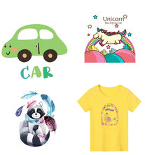Cute Animals Dog Cat Kids Patch for Clothing Sticker Decor Heat Transfer Stickers Badges Unicorn Patches DIY T-shirt print PVC