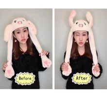 Cartoon Cuddly Moving Ear Rabbit Hat Dance Plush Toy Plush Cap Hat Soft Stuffed Animal Toy Toys for Children(China)