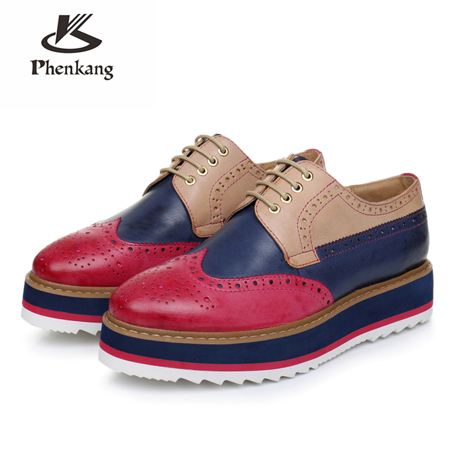 Genuine sheepskin leather brogue designer vintage yinzo flats shoes handmade flat platform red oxford shoes for