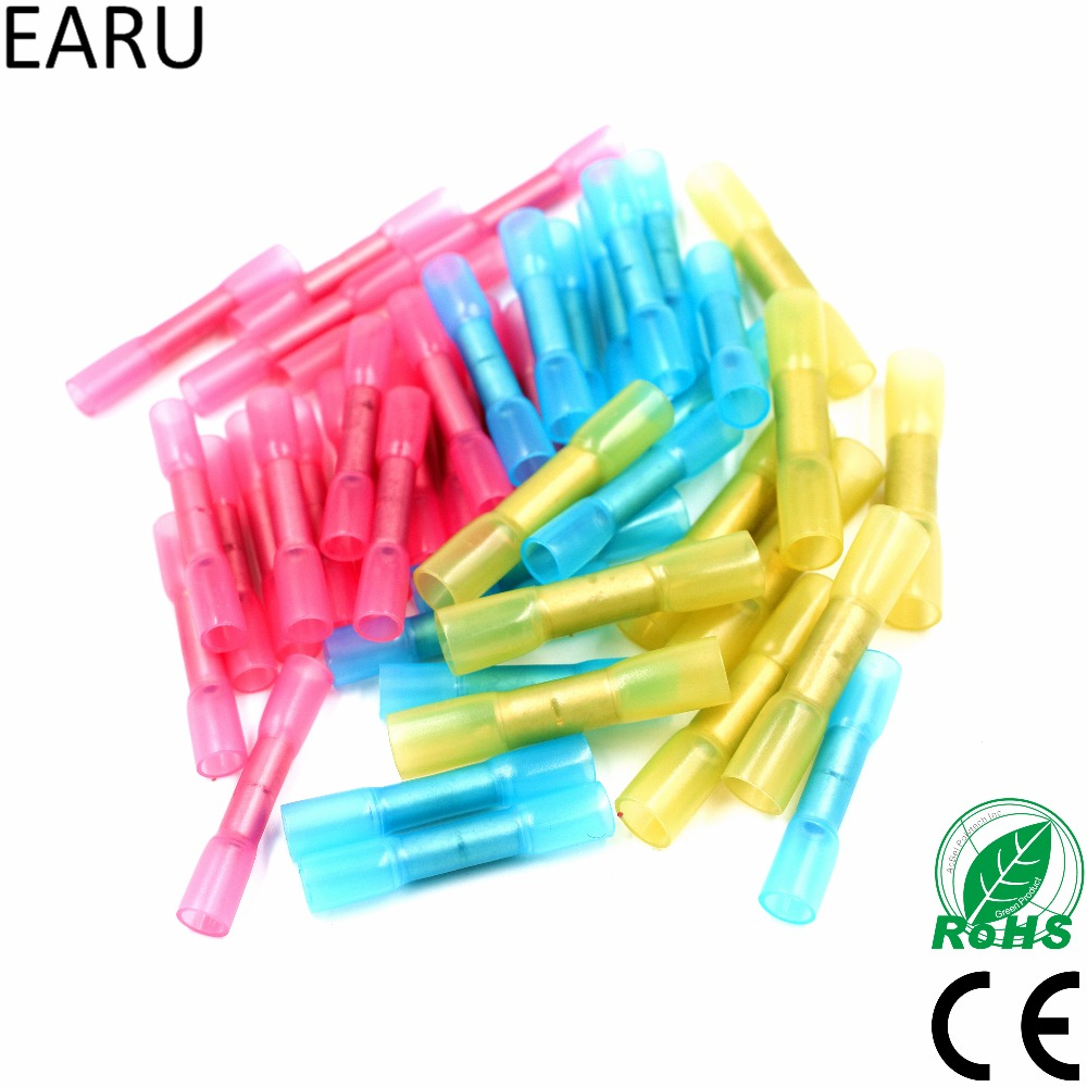 100PCS Mixed Heat Shrink Butt Electrical Crimp Terminals Wire Cable Connectors Tube Terminal Blue Red Yellow 10-22 AWG 0.5-6mm