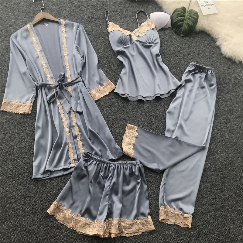 ZOOLIM Satin Sleepwear with Chest Pads Sexy Women Pajamas Lace Slik Sle