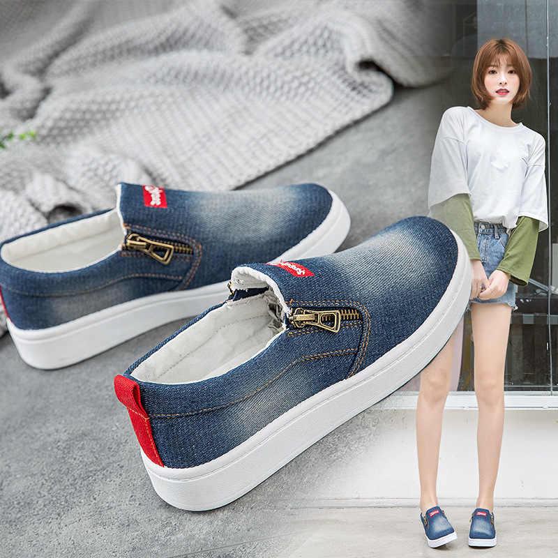 แฟชั่นผู้หญิงรองเท้าผ้าใบ Denim รองเท้าสบายๆหญิงฤดูร้อนผ้าใบรองเท้าผู้หญิงลื่นบนผ้าใบ Loafers Drop Shipping รองเท้า