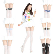 High Quality 7 Styles Patchwork Striped Pantyhose Girls Sports Kawaii Tight One Plus Two Sexy Stockings Japanese Velvet Tights