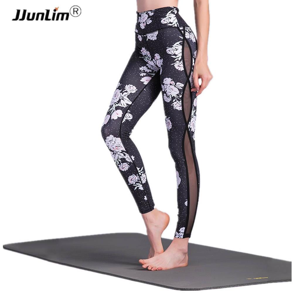 Femmes Fleur Imprimé Yoga Leggings Noir Maille Couture Taille Haute Yoga Athlétique Pantalon Sport Leggings Stretch Fitness Leggings
