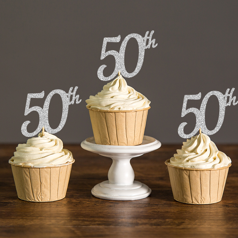 Glittering 50th Anniversary Cupcake Toppers Set