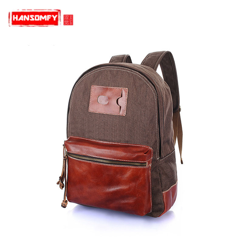 2018 New canvas women Backpacks female shoulder bag casual retro leather with canvas backpack hit color cowhide male Laptop bag2018 New canvas women Backpacks female shoulder bag casual retro leather with canvas backpack hit color cowhide male Laptop bag