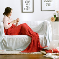 100% Cotton Knitted Mermaid Tail Blanket for Kids and Adults Soft and Comfortable Sleeping Bags Casual Nap Blanket Birthday Gift