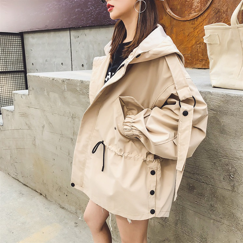 Big Pocket Solid Color Loose Boyfriend Oversize Women's Hooded Casual Girls   Trench   Woman Fall Winter Coat Clothing