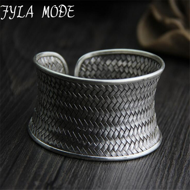 Fyla Mode Antique Big Wide Weave Bracelets & Bangles for Women 999 Thai Silver Open Bangle Love Cuff Bracelet Men Fine Jewelry v ya vintage thai silver men bracelets bangles 925 sterling silver mens bracelet bangle cuff fine jewelry