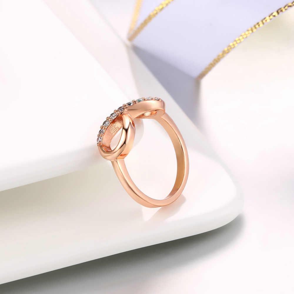 Novo design venda quente moda cobre cristal anéis rosa cor de ouro infinito anel de indicação jóias hotsale para mulher r407