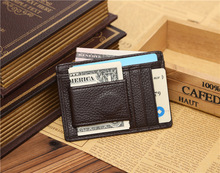 2016 New fashion Brand Genuine leather clip for money stainless steel money clip wallet leather holder for money FWH6014