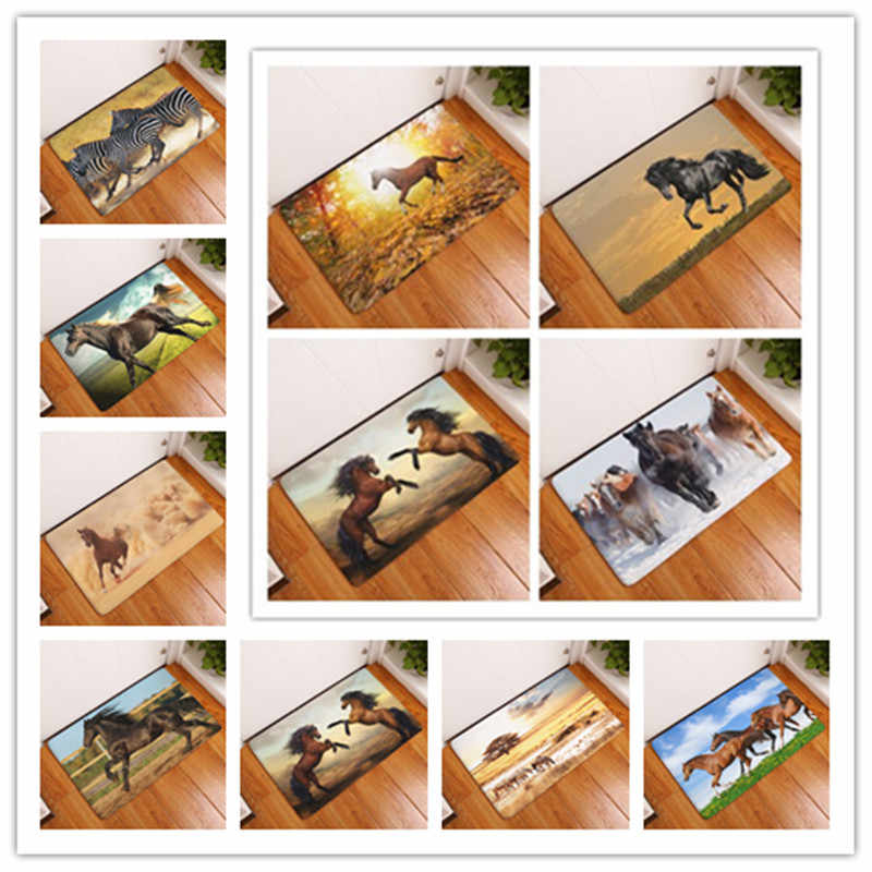2017 New High Quality Anti-Slip Carpets Clear Majestic Horse Print Mats Bathroom Floor Kitchen Rugs 40x60or50x80cm