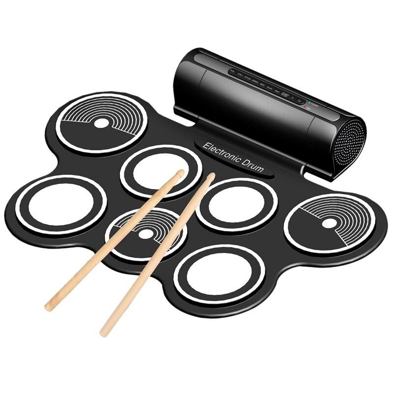 Portable Jazz Drum Folding Jazz Drum Stereo Dual Speaker Electronic Drum Digital Drum Us Plug