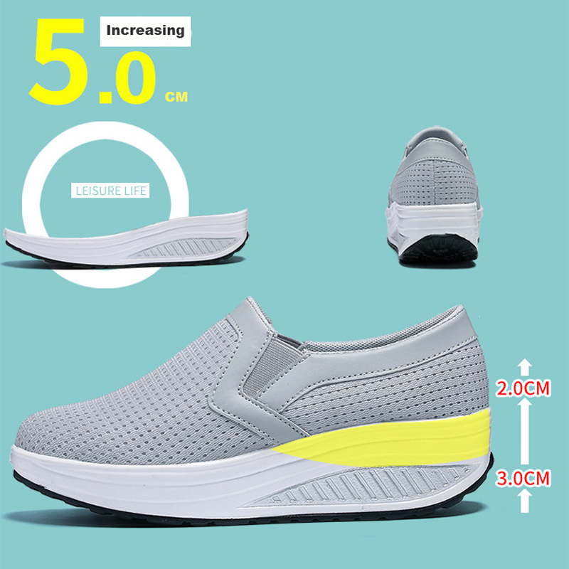 Image 5 - Women's Swing Shoes Air Mesh Woman Loafers Flat Platforms Female Shoe Casual Wedges Ladies Shoes Height Increasing Footwear-in Women's Flats from Shoes