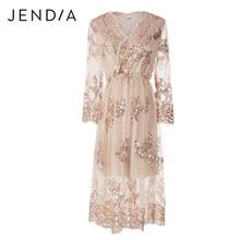 2a1fae5082bf5b JENDIA Sexy V-hals Sequin Party Dress Vrouwen Elegant Lange Mouwen Gold  Lovertjes Chic Jurken