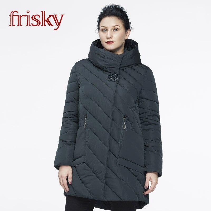 2018 Frisky Women s Winter Coat Plus Size down flowers cotton Long Parkas Women Coat slim