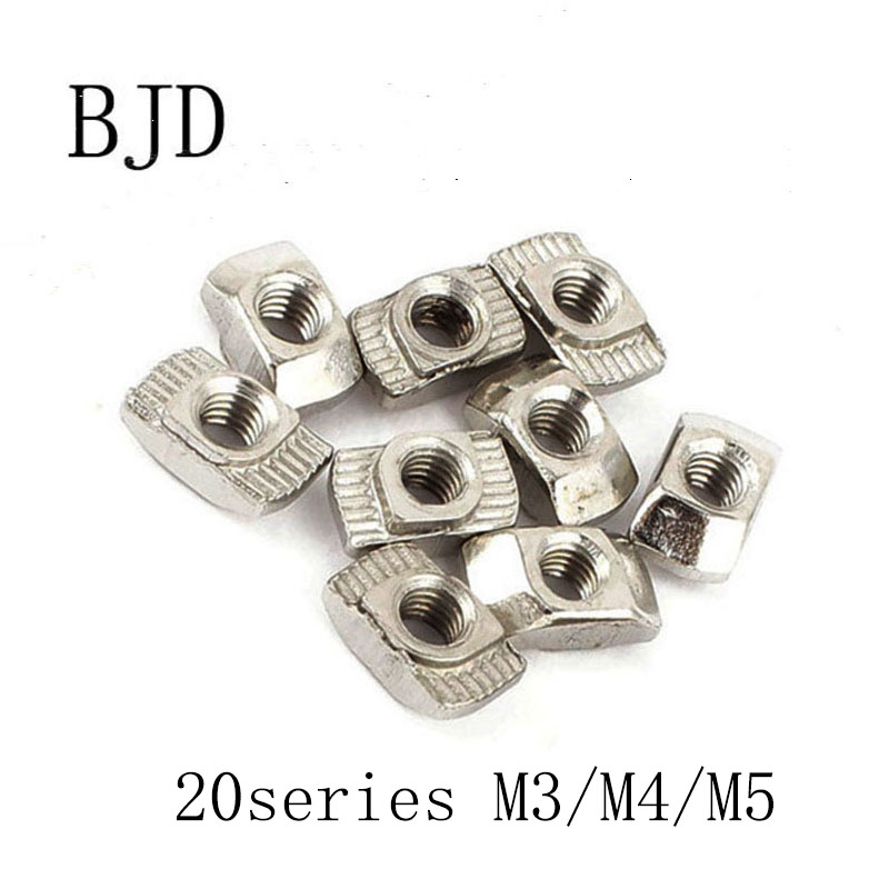 <font><b>100Pcs</b></font> <font><b>20</b></font> series M3/M4/M5 Nickel Plated T nut Hammer Head Fasten Nut for Aluminum Extrusion Profile 2020 series Slot Groove 6mm image