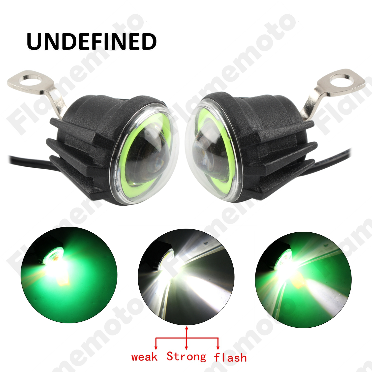 Motorcycle Bike Parts  Mirror Mount LED Flash Green Angel Eye Driving Fog Light For Harley Electra Glide FLHTC FLHTK UNDEFINED