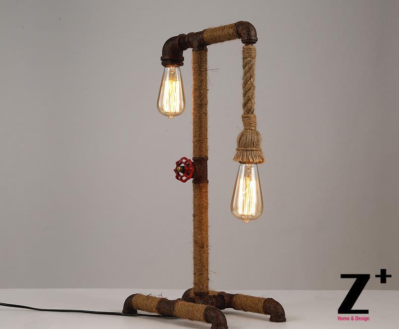 Stile industriale Americano lampada da tavolo tubo di Ferro fatto A Mano FAI  DA TE lino lino corda trasporto libero abajur,in Lampade da tavolo da Luci  e
