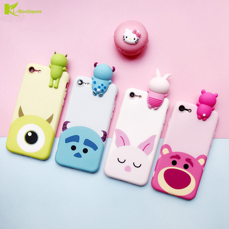 design innovativo 9c4e0 cf5bb Silicone Iphone 7 8 X Cases 3D Cute Bear Pig Cartoon Lying Down Dolls Cover  For Coque Iphone 6 6S Plus