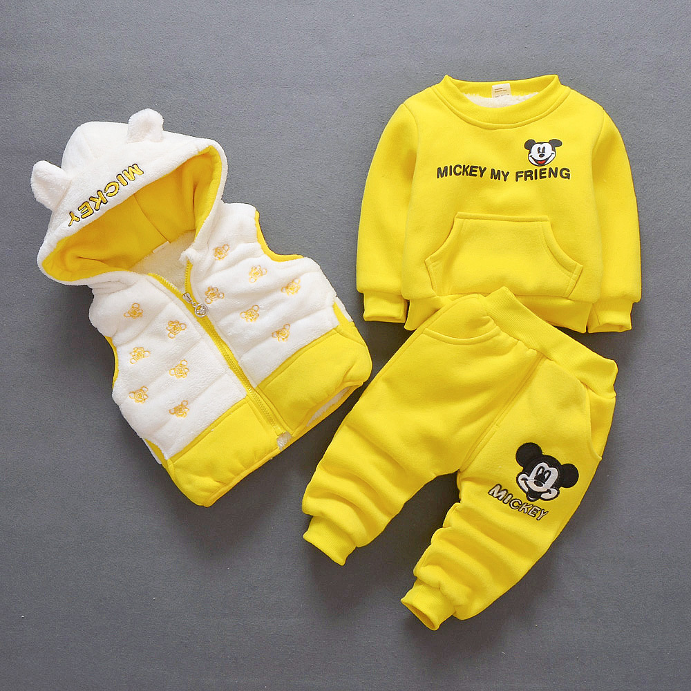 цены Baby Girl Clothes Autumn Winter Cartoon Long Sleeved Hoodies Tops + Pants +Coat Children's Outfits Kids Bebes Jogging Suits