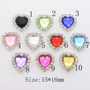Flatback 10Pc Acrylic Heart mini rhinestone Button DIY Wedding inviations gift box decorate child clothing beauty accessories