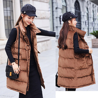 Winter long vest women 2018 casual solid stand collar single breasted velvet fabric female wasit coat women thick warm jacket
