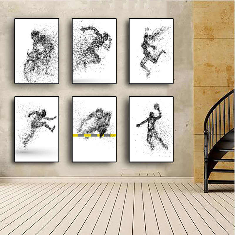 Black and White Basketball Canvas Painting Posters and Prints Nordic Abstract Sport Man ScandinaviaWall Picture for Living Room