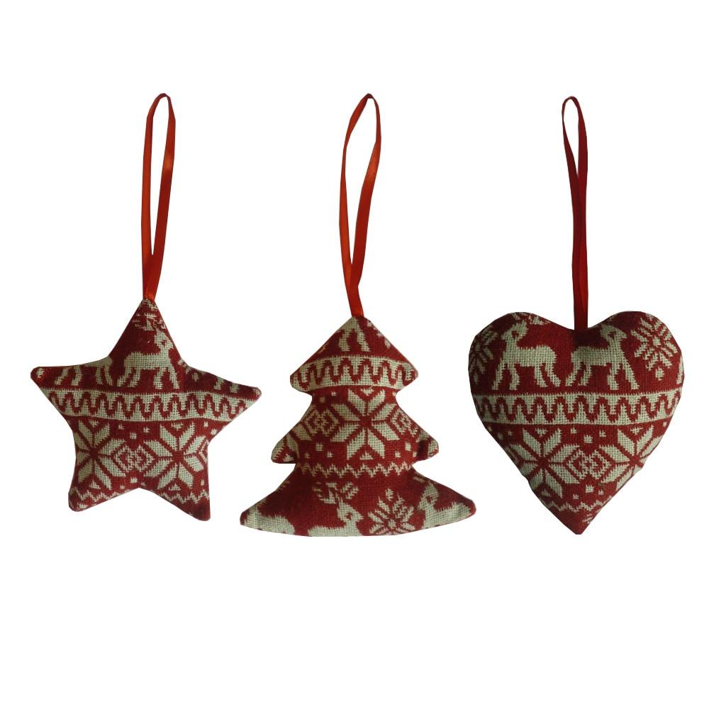 3pcs Lot Christmas Tree Ornaments Linen Red Heart Tree Star 2016 Home Decor Merry Christmas