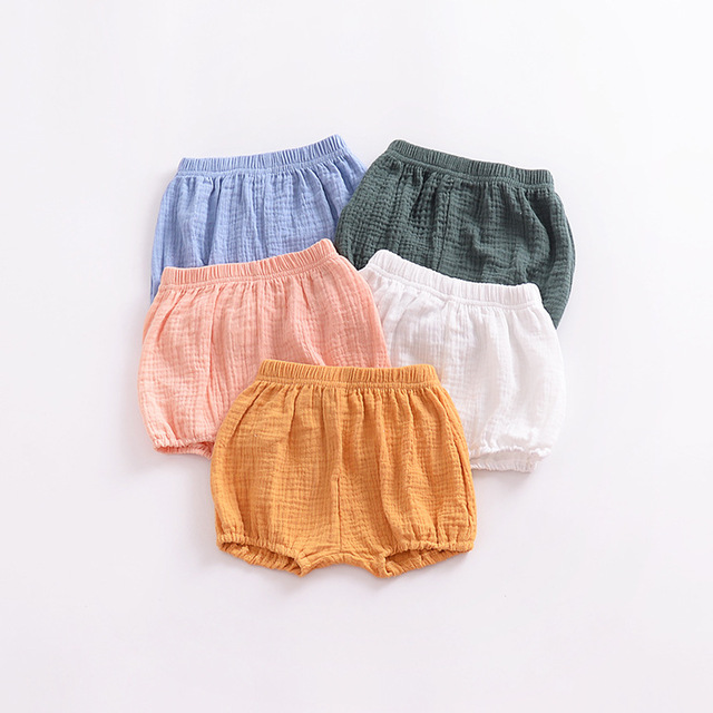 Girls' Loose Plain Cotton Shorts with Elastic Waist