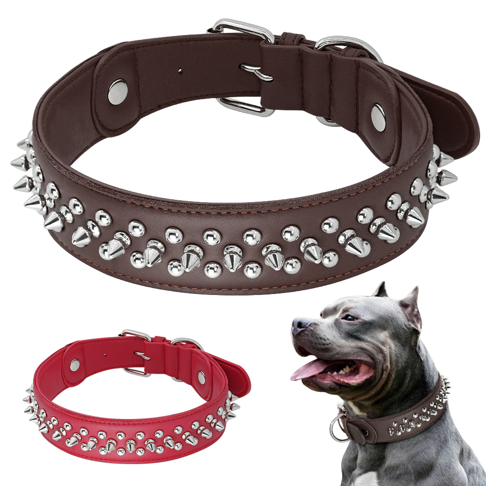 US $10 99  Dog Collar For Big Dogs Leather Dog Collar Cool Spikes Studded  Pet Collars For Medium Large Pitbull Bulldog Boxer L XL-in Collars from  Home