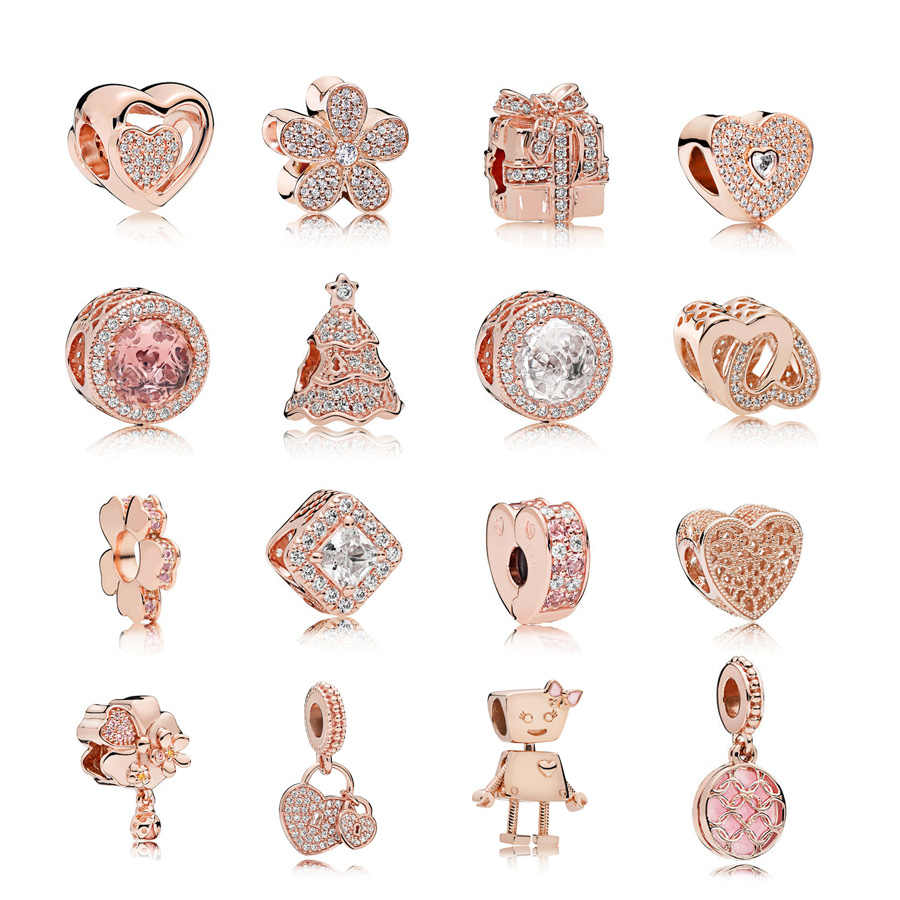 Neastamor różowe złoto Charms europejski bella bot miłość koraliki serca Fit oryginalny Pandora bransoletka z koralików dla kobiet urok DIY biżuteria