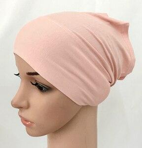 Image 2 - מודאלי כותנה רגיל מוצק צבע פנימי כובע תחבושת מוסלמי underscarfs חיג אב
