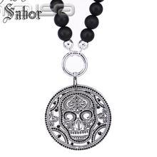 248cb1d6d1bf Matt obsidiana collar de perlas con máscara de cráneo colgante Europea obsidiana  collar de cuentas de la joyería para hombres th.