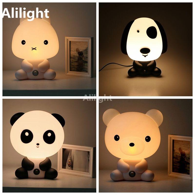 Nuovo nursery panda coniglio cane cartone animato orso luce di