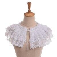 1 adet Lolita Kız Beyaz Dantel Ayrılabilir Yaka Jabot Boyunbağı Victorian Mini Pelerin