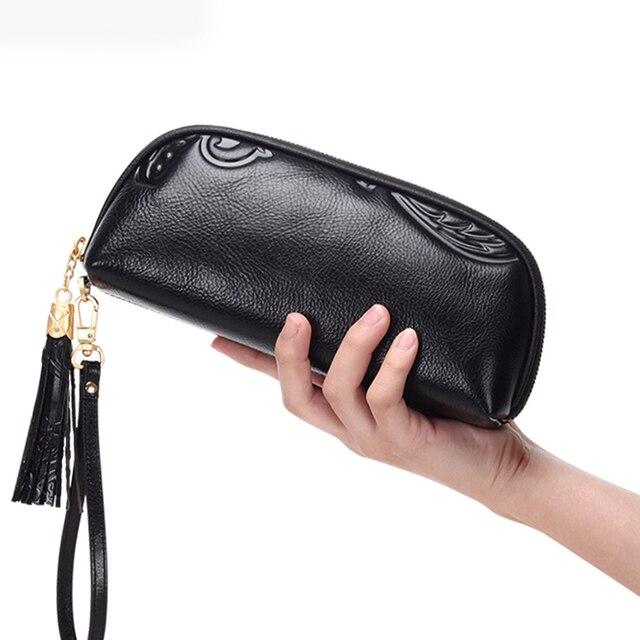 Cowhide Women Wallet Long Money Clips Wrist Genuine Leather Luxury Design Ladies Tassel Zipper Purse Handy Embossing Clutch Bag