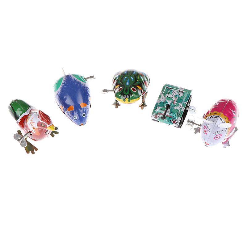 Classic Toy Tin Wind Up Clockwork Toys Jumping Iron Frog Rabbit Cock Toy New Action Figures Toy For Children Kids