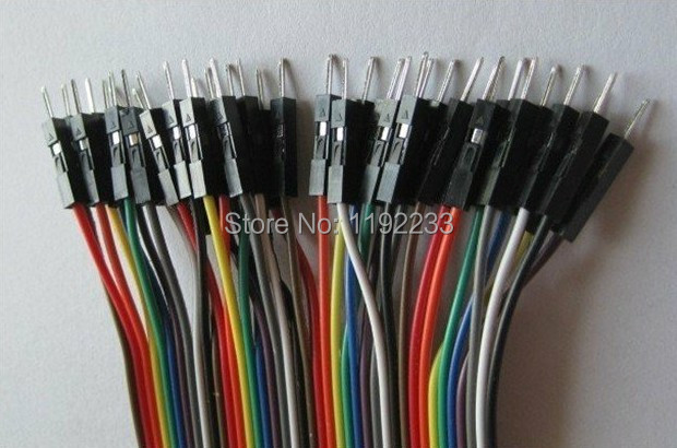 40pcs In Row Dupont Cable 21.5 Cm 2.54mm 1pin 1p-1p Male To Male Jumper Wire For Arduino Wholesale/Retail