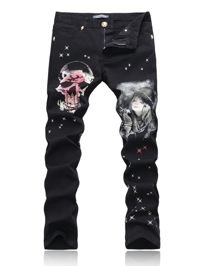 Hot sale 3D skull print men jeans fashuion black slim trousers