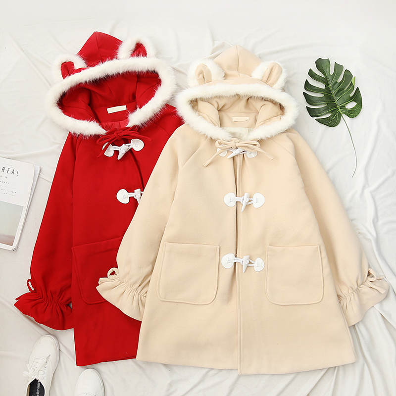 Veste Corne Splice Laine Bouton Style Lapin Mignon Femmes Japonais Vintage Apricot Pur Uniforme Jk Manteau Preppy Outwear De Fourrure Mélangée red En Couleur XYqCgZfw