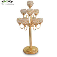 10PCS/LOT Metal Gold Candle Holders 83CM 5 Arms With Crystals Stand Pillar Candlestick For Wedding Portavelas Candelabra 02901