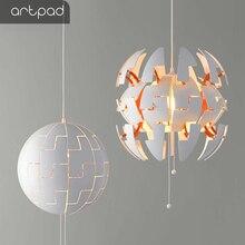 Artpad 5W Modern Deformation Pendant Led Light Round White Restaurant Dining Room Acrylic Light Pendant Fitting Pull Line Switch стоимость