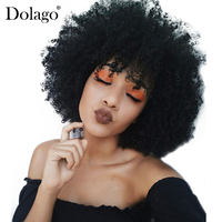 13x6 Afro Kinky Curly Lace Front Human Hair Wigs For Women Brazilian Lace Frontal Wig 250% Density Natural Black Remy Dolago