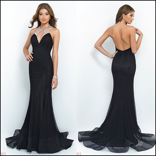 1258aa204425 Black Mermaid Long Tight Prom Dresses Sexy Halter Open Back Vestido  Formatura Longo Unique Net Long Tight Prom Dresses