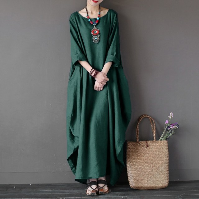ZANZEA Womens Crewneck 3/4 Batwing Sleeve Baggy Maxi Long Shirt Dress Casual Party Kaftan Solid Robe Vestido Plus Size