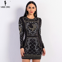 Free Shipping Missord 2015 Sexy O Neck Long Sleeved Geometric Studded Dress FT3610