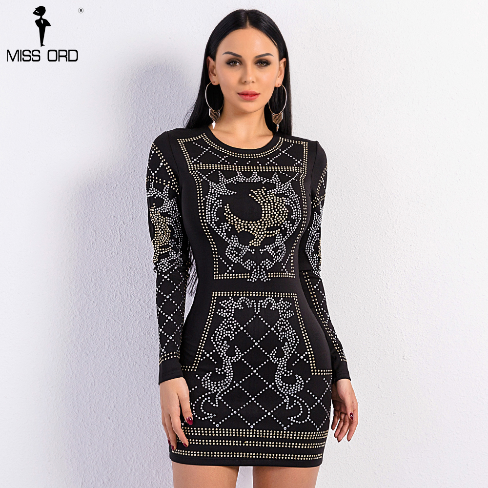 47717afe3b797 Missord 2017 Sexy O-neck long-sleeved geometric silver and gold studded  velvet dress FT3610 Rhinestone